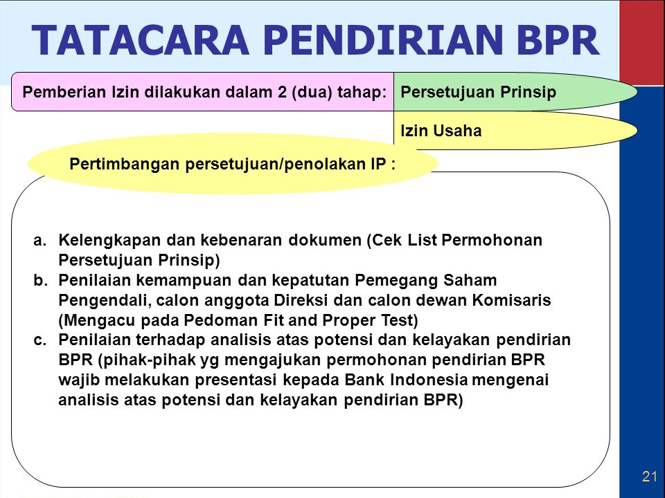 21 a.Kelengkapan dan kebenaran dokumen (Cek List Permohonan Persetujuan Prinsip) b.Penilaian kemampuan dan kepatutan Pemegang Saham Pengendali, calon