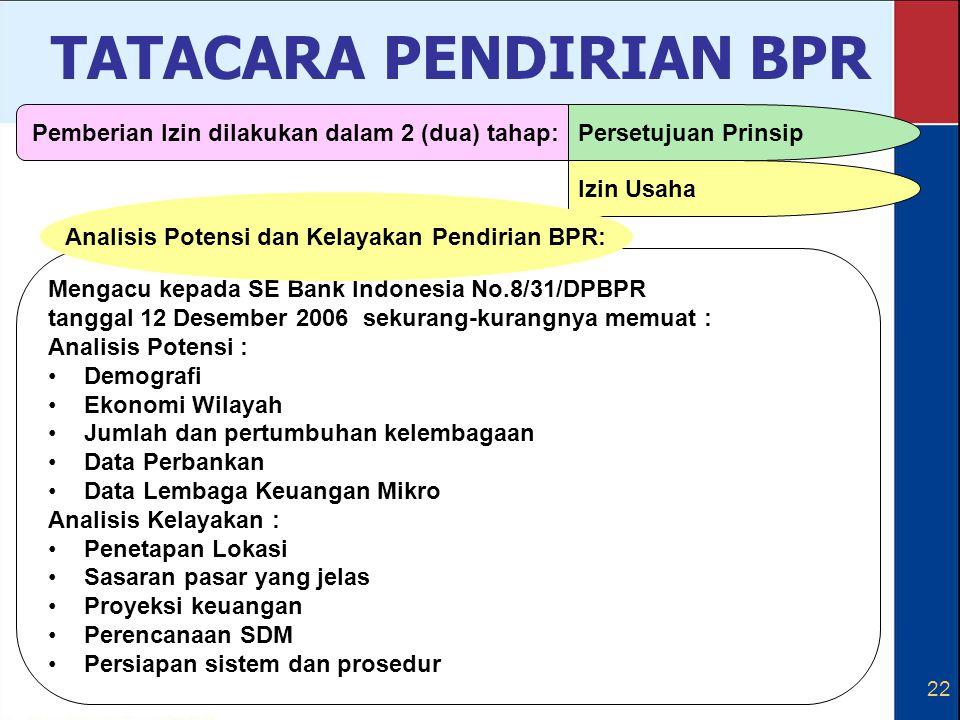 22 Mengacu kepada SE Bank Indonesia No.8/31/DPBPR tanggal 12 Desember 2006 sekurang-kurangnya memuat : Analisis Potensi : Demografi Ekonomi Wilayah Ju