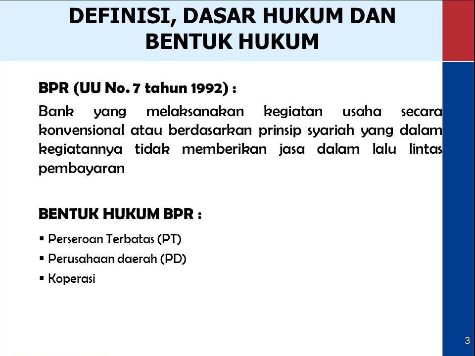 3 DEFINISI, DASAR HUKUM DAN BENTUK HUKUM BPR (UU No. 7 tahun 1992) : Bank yang melaksanakan kegiatan usaha secara konvensional atau berdasarkan prinsi