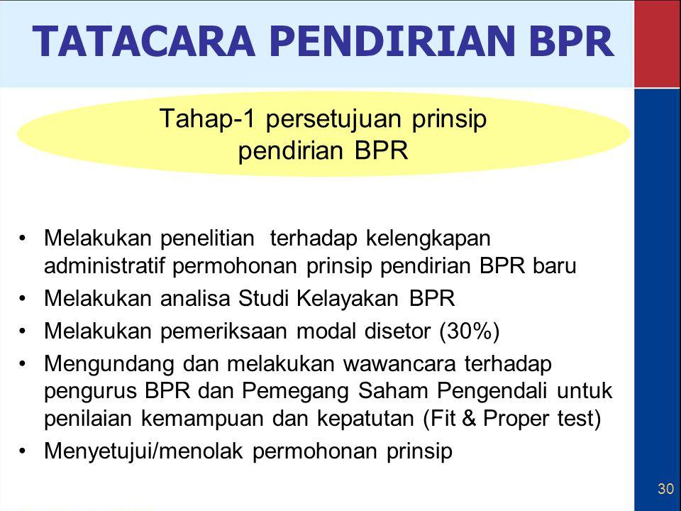 30 Melakukan penelitian terhadap kelengkapan administratif permohonan prinsip pendirian BPR baru Melakukan analisa Studi Kelayakan BPR Melakukan pemer