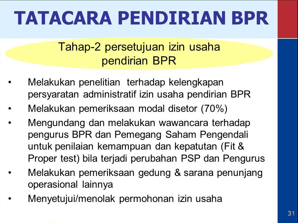 31 Melakukan penelitian terhadap kelengkapan persyaratan administratif izin usaha pendirian BPR Melakukan pemeriksaan modal disetor (70%) Mengundang d