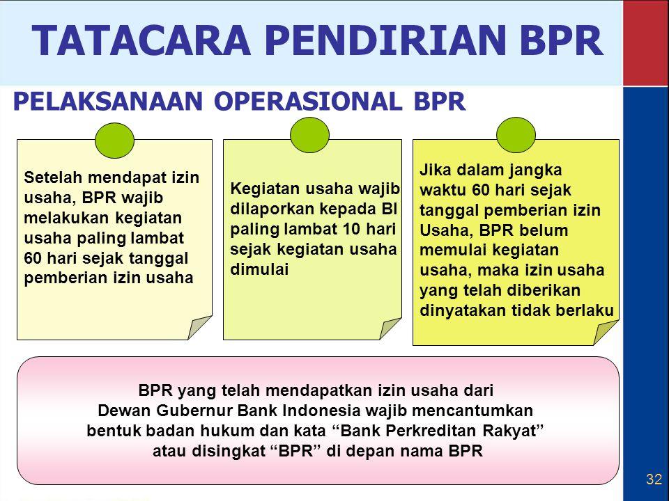 32 Setelah mendapat izin usaha, BPR wajib melakukan kegiatan usaha paling lambat 60 hari sejak tanggal pemberian izin usaha Kegiatan usaha wajib dilap