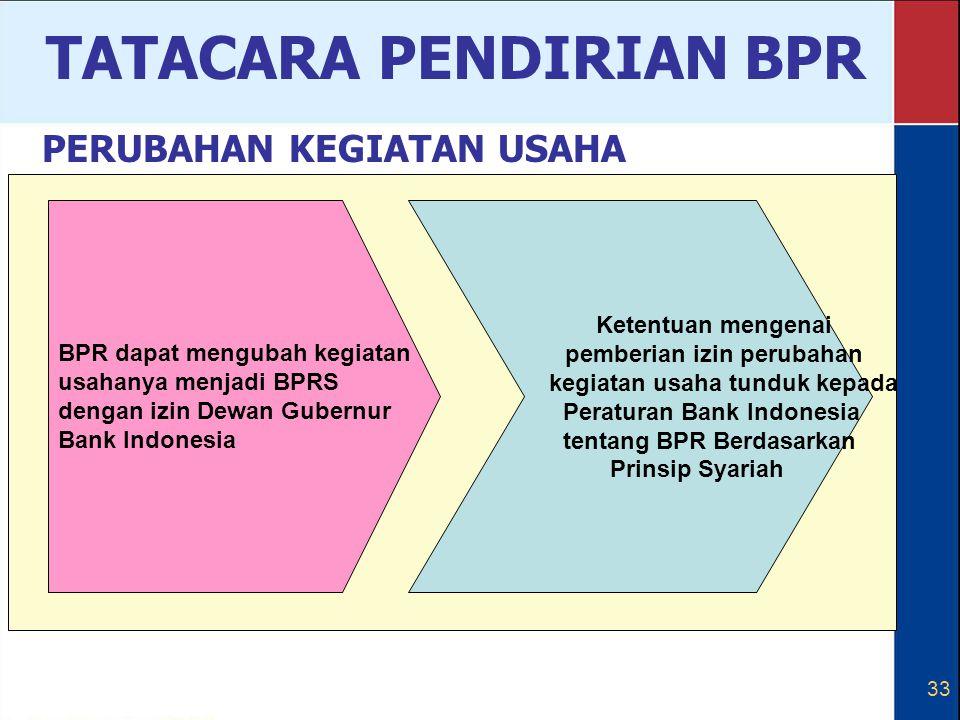 33 BPR dapat mengubah kegiatan usahanya menjadi BPRS dengan izin Dewan Gubernur Bank Indonesia Ketentuan mengenai pemberian izin perubahan kegiatan us
