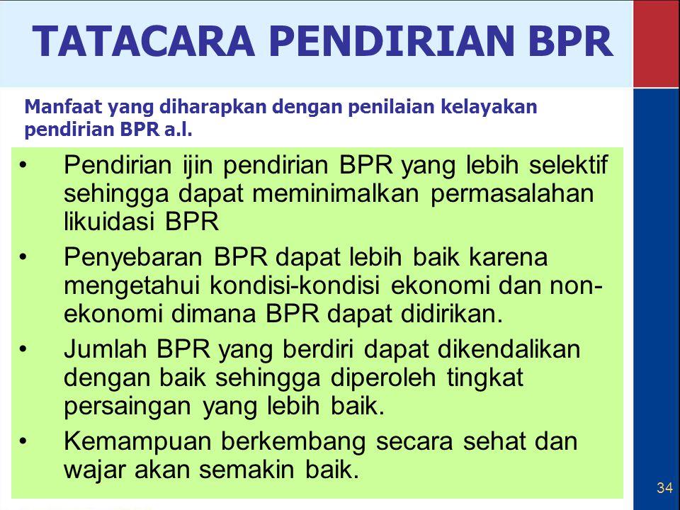 34 Pendirian ijin pendirian BPR yang lebih selektif sehingga dapat meminimalkan permasalahan likuidasi BPR Penyebaran BPR dapat lebih baik karena meng