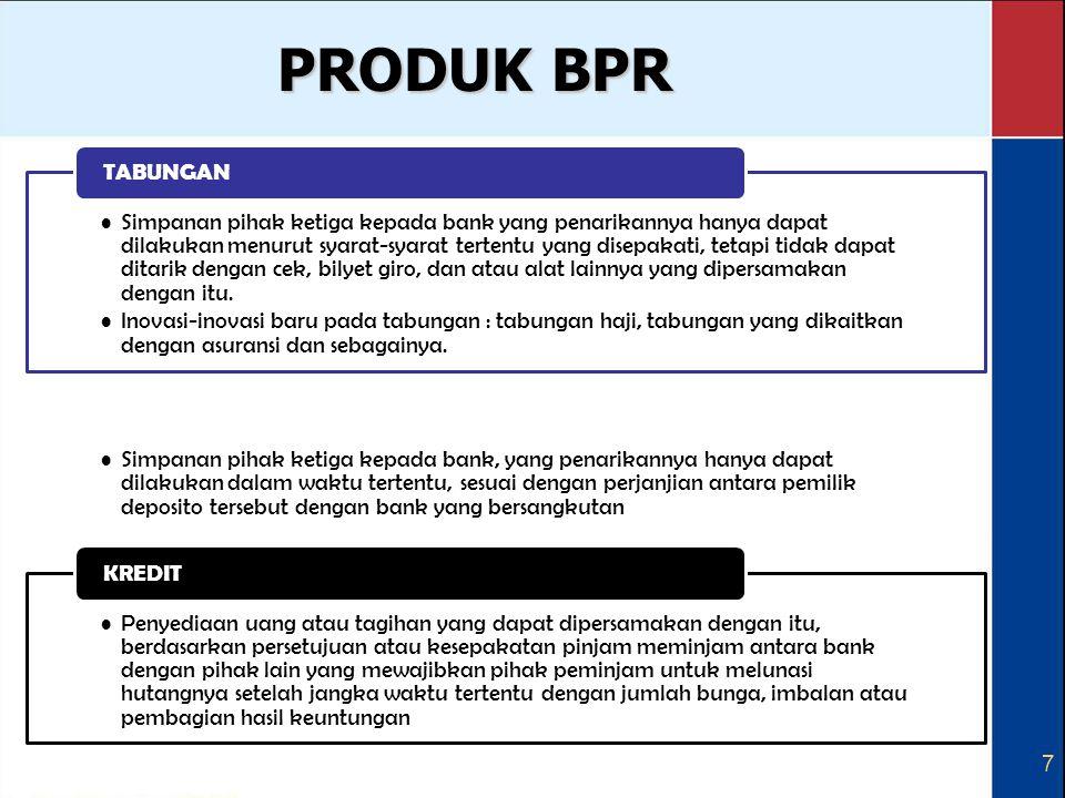 7 PRODUK BPR Simpanan pihak ketiga kepada bank yang penarikannya hanya dapat dilakukan menurut syarat-syarat tertentu yang disepakati, tetapi tidak da