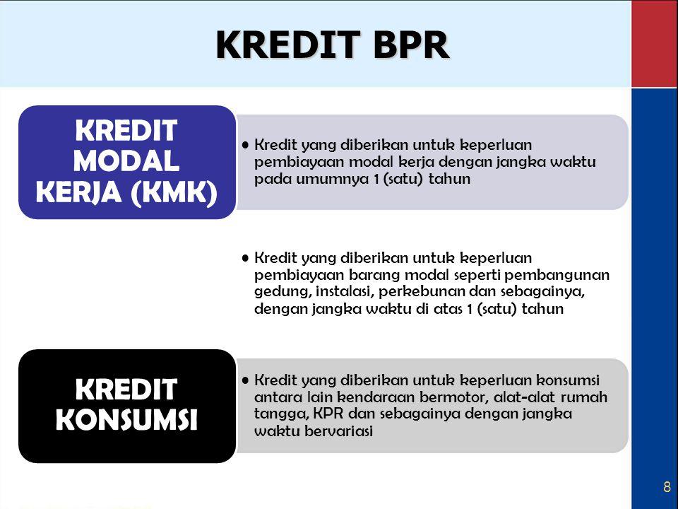 8 KREDIT BPR Kredit yang diberikan untuk keperluan pembiayaan modal kerja dengan jangka waktu pada umumnya 1 (satu) tahun KREDIT MODAL KERJA (KMK) Kre