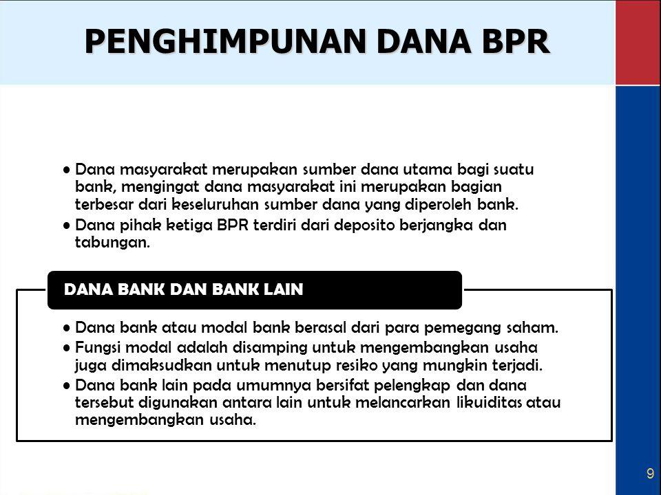 10 PENYALURAN DANA BPR  Penyaluran dana kepada masyarakat disebut dengan pemberian kredit oleh Bank Konvensional atau pembiayaan oleh bank syariah (Bank berdasarkan prinsip Syariah).