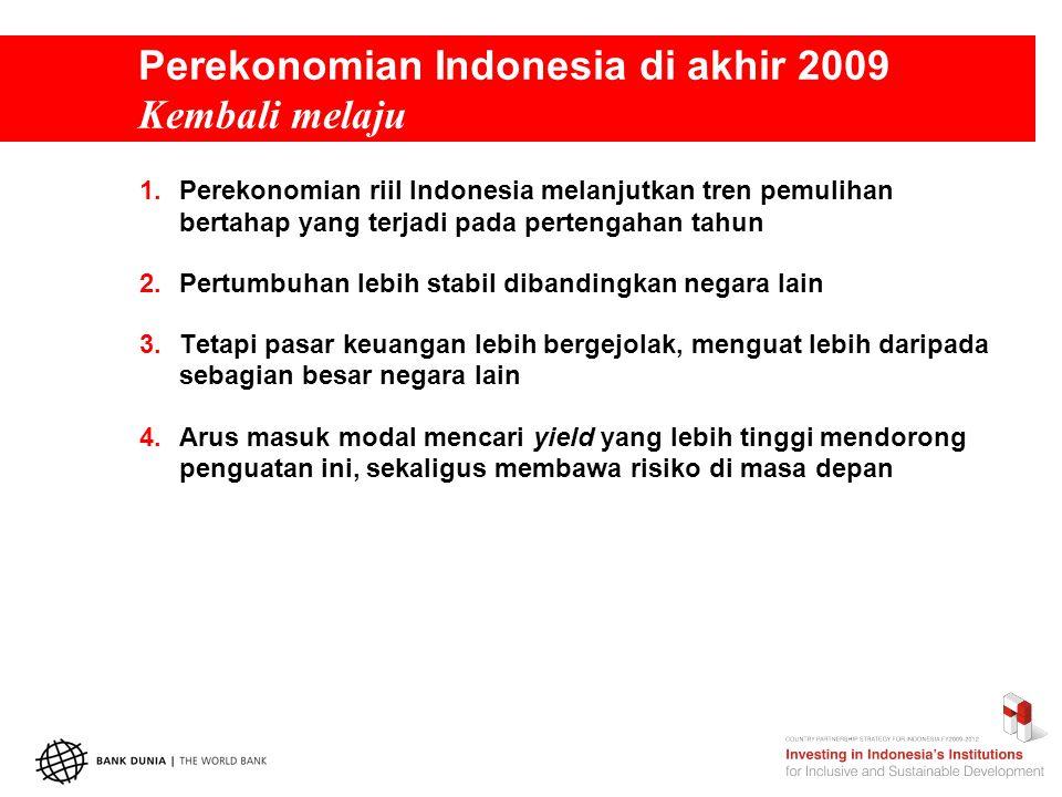 Perekonomian Indonesia di akhir 2009 Pertumbuhan kembali ke tingkat rata-rata sebelum krisis  Pertumbuhan terus naik di Triwulan 3, melanjutkan tren sebelumnya  Dasar pertumbuhan tetap luas (broad-based): konsumsi tetap kuat, investasi naik dan ekspor bersih memberi kontribusi positif  PDB industri walaupun turun secara tahunan, naik di kuartal ke-3 secara penyesuaian musiman dibandingkan dengan jasa yang mengalami penurunan (pertumbuhan PDB agregat) Sumber: BPS melalui CEIC, Bank Dunia