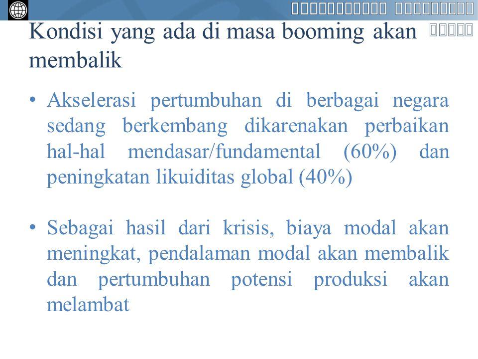 Kondisi yang ada di masa booming akan membalik Akselerasi pertumbuhan di berbagai negara sedang berkembang dikarenakan perbaikan hal-hal mendasar/fund