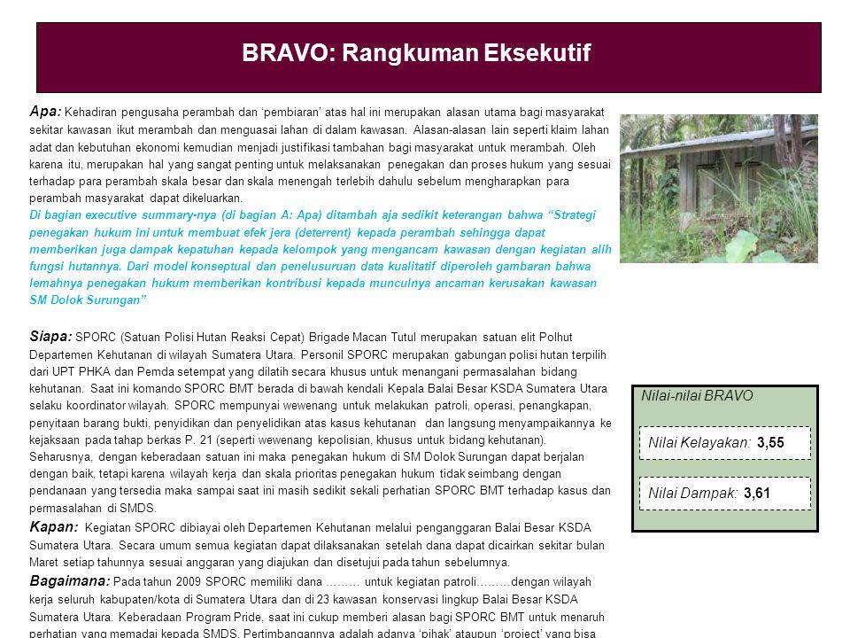 Nilai-nilai BRAVO BRAVO: Rangkuman Eksekutif Apa: Kehadiran pengusaha perambah dan 'pembiaran' atas hal ini merupakan alasan utama bagi masyarakat sekitar kawasan ikut merambah dan menguasai lahan di dalam kawasan.