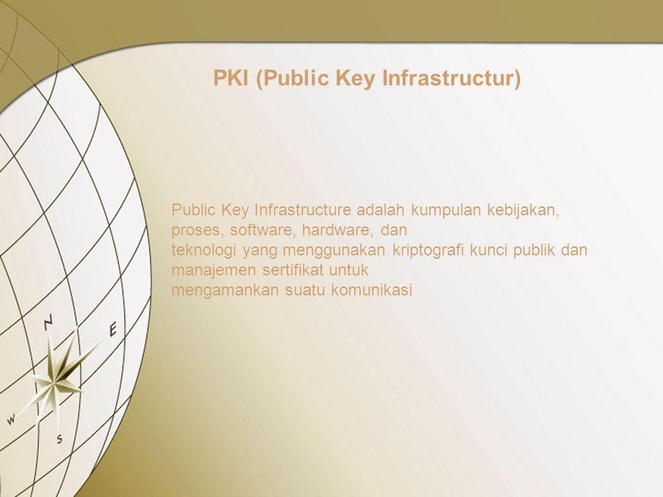 PKI (Public Key Infrastructur) Public Key Infrastructure adalah kumpulan kebijakan, proses, software, hardware, dan teknologi yang menggunakan kriptografi kunci publik dan manajemen sertifikat untuk mengamankan suatu komunikasi