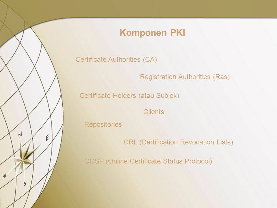 Komponen PKI Certificate Authorities (CA) Registration Authorities (Ras) Certificate Holders (atau Subjek) Clients Repositories CRL (Certification Revocation Lists) OCSP (Online Certificate Status Protocol)