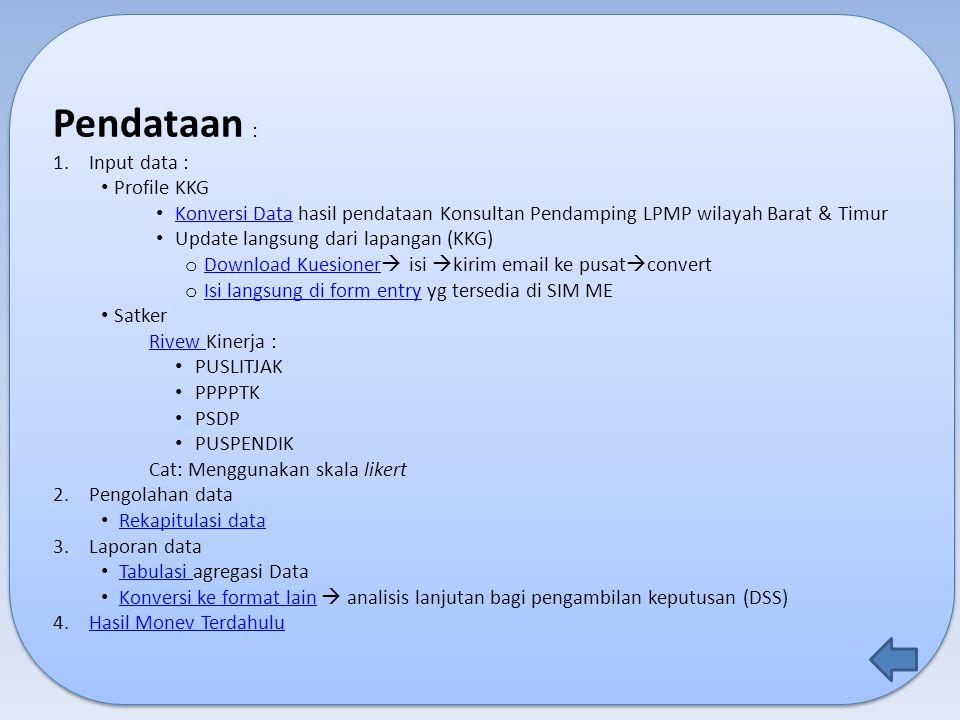 Pendataan : 1.Input data : Profile KKG Konversi Data hasil pendataan Konsultan Pendamping LPMP wilayah Barat & Timur Konversi Data Update langsung dar