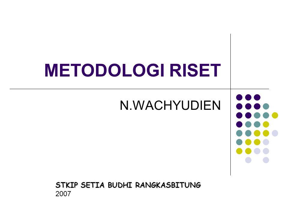 METODOLOGI RISET N.WACHYUDIEN STKIP SETIA BUDHI RANGKASBITUNG 2007