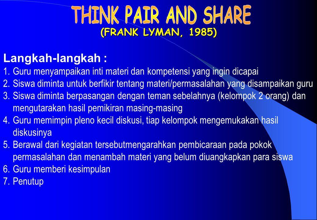(FRANK LYMAN, 1985) Langkah-langkah : 1.Guru menyampaikan inti materi dan kompetensi yang ingin dicapai 2.Siswa diminta untuk berfikir tentang materi/permasalahan yang disampaikan guru 3.Siswa diminta berpasangan dengan teman sebelahnya (kelompok 2 orang) dan mengutarakan hasil pemikiran masing-masing 4.Guru memimpin pleno kecil diskusi, tiap kelompok mengemukakan hasil diskusinya 5.Berawal dari kegiatan tersebutmengarahkan pembicaraan pada pokok permasalahan dan menambah materi yang belum diuangkapkan para siswa 6.Guru memberi kesimpulan 7.Penutup