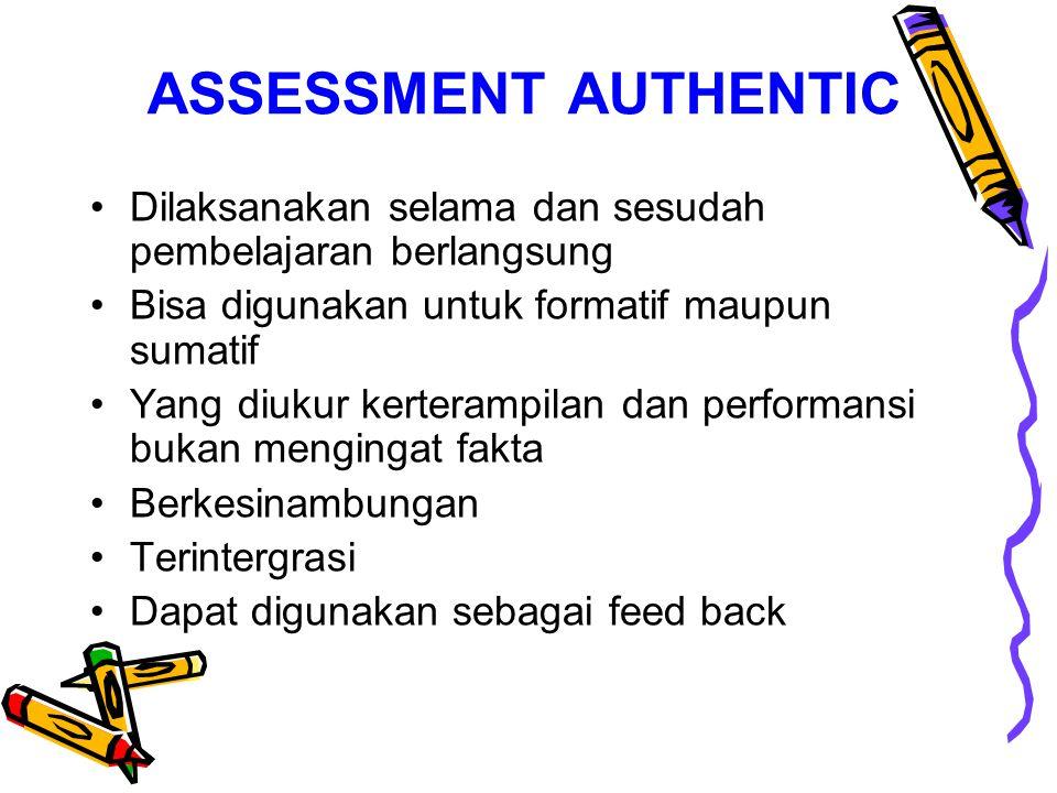 PENILAIAN SEBENARNYA Assessment adalah proses pengumpulan data yg bisa memberikan gambaran kemajuan siswa karena itu tidak dilakukan pada akhir pembel