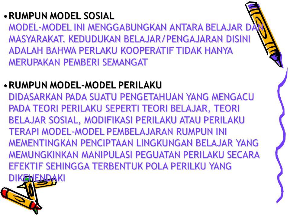RUMPUN MODEL SOSIALRUMPUN MODEL SOSIAL MODEL-MODEL INI MENGGABUNGKAN ANTARA BELAJAR DAN MASYARAKAT.