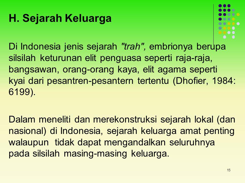 15 H. Sejarah Keluarga Di Indonesia jenis sejarah
