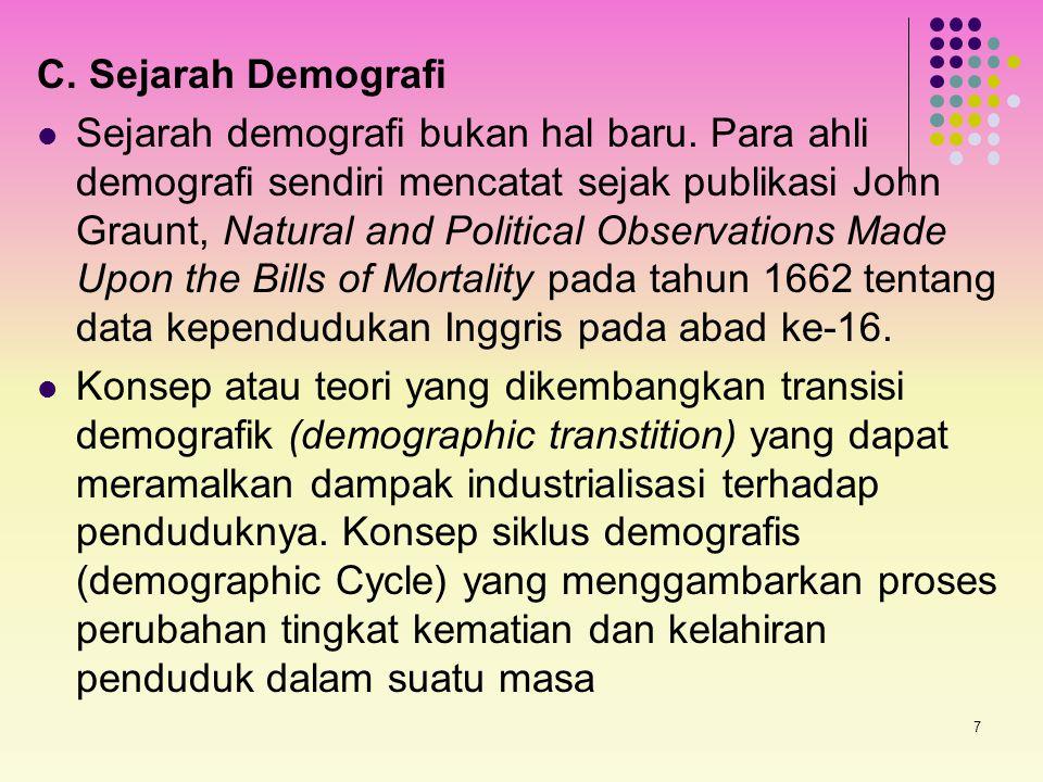 7 C. Sejarah Demografi Sejarah demografi bukan hal baru. Para ahli demografi sendiri mencatat sejak publikasi John Graunt, Natural and Political Obser