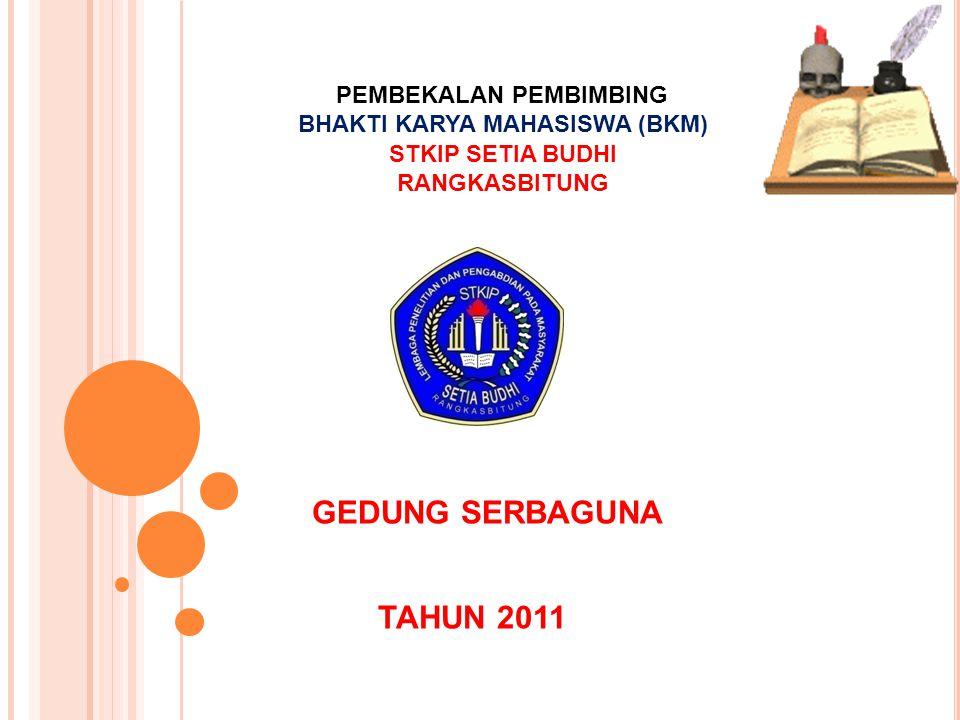 PEMBEKALAN PEMBIMBING BHAKTI KARYA MAHASISWA (BKM) STKIP SETIA BUDHI RANGKASBITUNG GEDUNG SERBAGUNA TAHUN 2011
