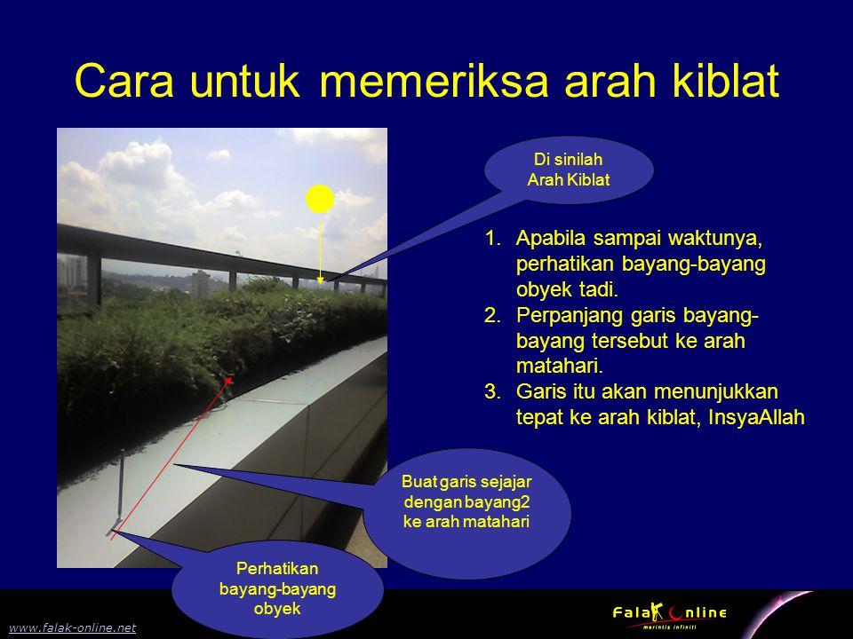 8 www.falak-online.net Cara untuk memeriksa arah kiblat 1.Apabila sampai waktunya, perhatikan bayang-bayang obyek tadi. 2.Perpanjang garis bayang- bay