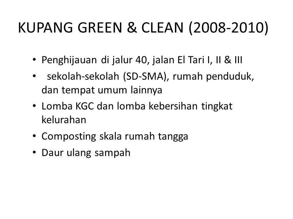 KUPANG GREEN & CLEAN (2008-2010) Penghijauan di jalur 40, jalan El Tari I, II & III sekolah-sekolah (SD-SMA), rumah penduduk, dan tempat umum lainnya Lomba KGC dan lomba kebersihan tingkat kelurahan Composting skala rumah tangga Daur ulang sampah