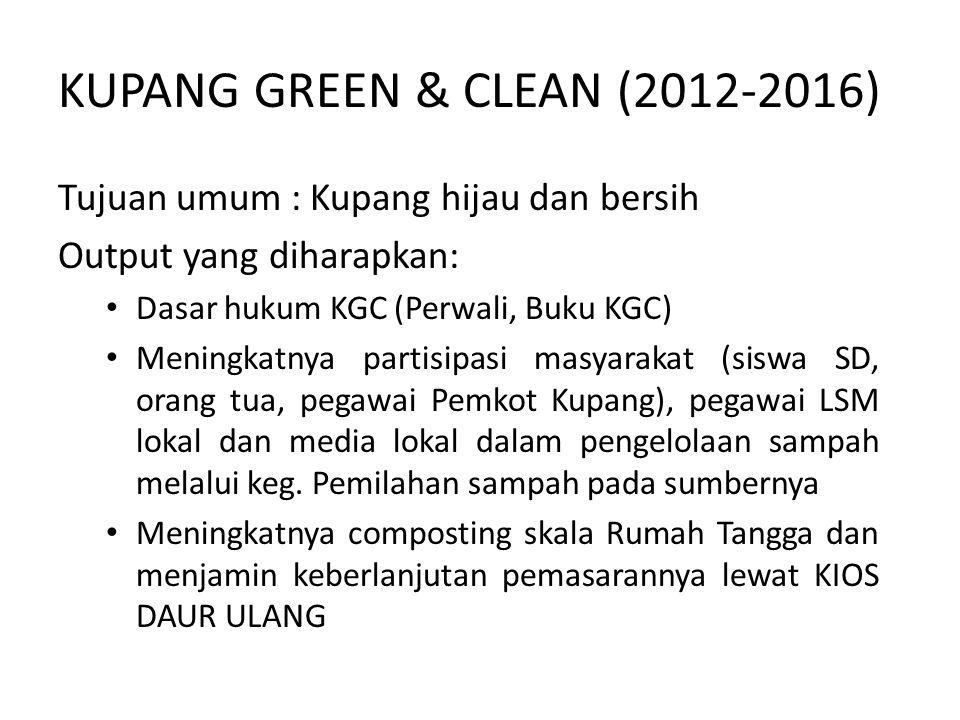 KUPANG GREEN & CLEAN (2012-2016) Tujuan umum : Kupang hijau dan bersih Output yang diharapkan: Dasar hukum KGC (Perwali, Buku KGC) Meningkatnya partisipasi masyarakat (siswa SD, orang tua, pegawai Pemkot Kupang), pegawai LSM lokal dan media lokal dalam pengelolaan sampah melalui keg.