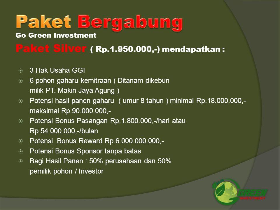  1 Hak Usaha GGI  1 pohon gaharu kemitraan ( Ditanam dikebun milik PT. Makin Jaya Agung )  Potensi Hasil Panen gaharu ( umur 8 tahun ) minimal Rp.6