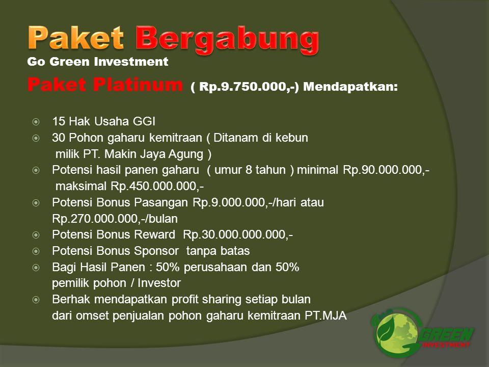  7 Hak Usaha GGI  14 pohon gaharu kemitraan ( Ditanam dikebun milik PT. Makin Jaya Agung )  Potensi hasil panen gaharu ( umur 8 tahun ) minimal Rp.