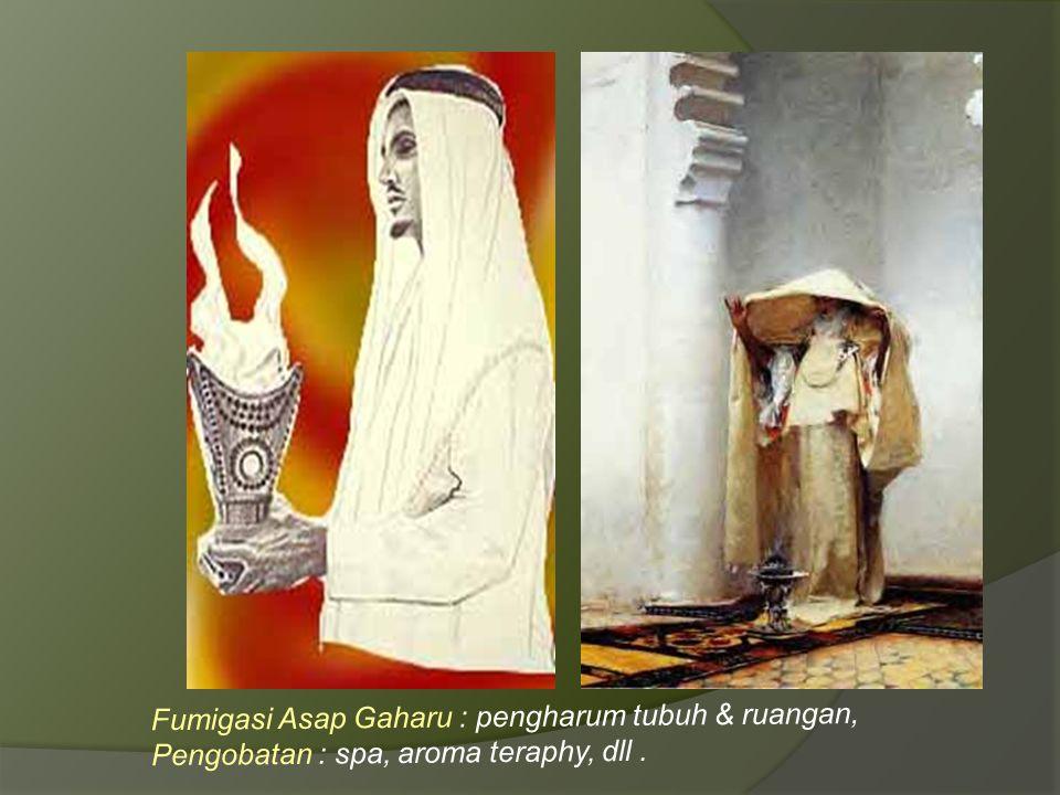 Fumigasi Asap Gaharu : pengharum tubuh & ruangan, Pengobatan : spa, aroma teraphy, dll.