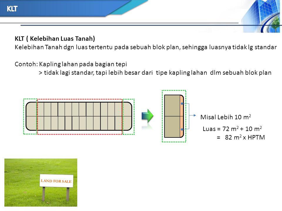 KLT ( Kelebihan Luas Tanah) Kelebihan Tanah dgn luas tertentu pada sebuah blok plan, sehingga luasnya tidak lg standar Contoh: Kapling lahan pada bagi