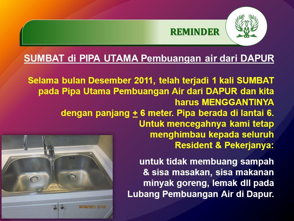 .…………… REMINDER SUMBAT di PIPA UTAMA Pembuangan air dari DAPUR Selama bulan Desember 2011, telah terjadi 1 kali SUMBAT pada Pipa Utama Pembuangan Air dari DAPUR dan kita harus MENGGANTINYA dengan panjang + 6 meter.