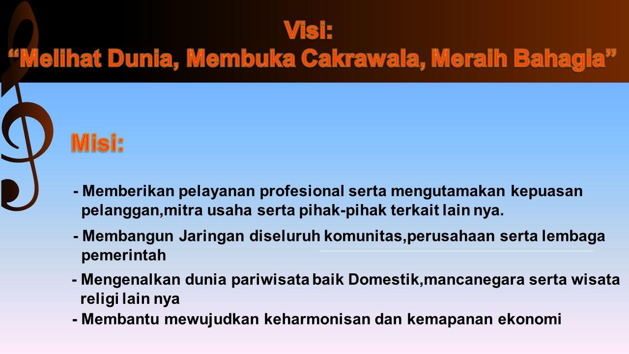 - Memberikan pelayanan profesional serta mengutamakan kepuasan pelanggan,mitra usaha serta pihak-pihak terkait lain nya. - Membangun Jaringan diseluru