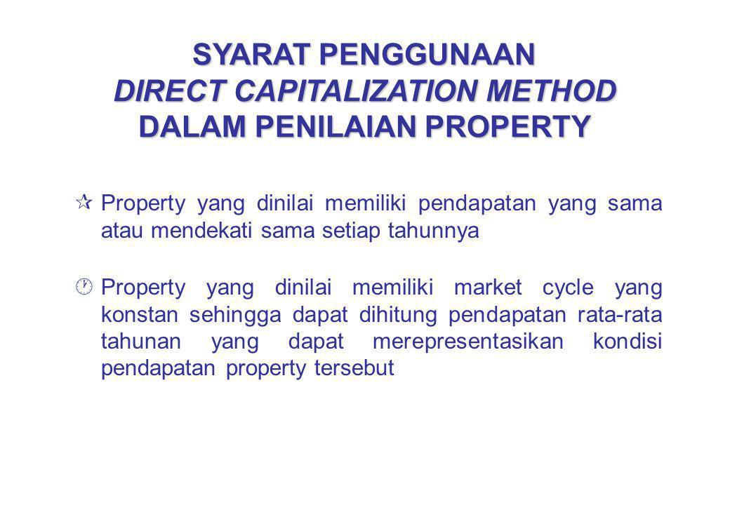 SYARAT PENGGUNAAN DIRECT CAPITALIZATION METHOD DALAM PENILAIAN PROPERTY ¶Property yang dinilai memiliki pendapatan yang sama atau mendekati sama setia