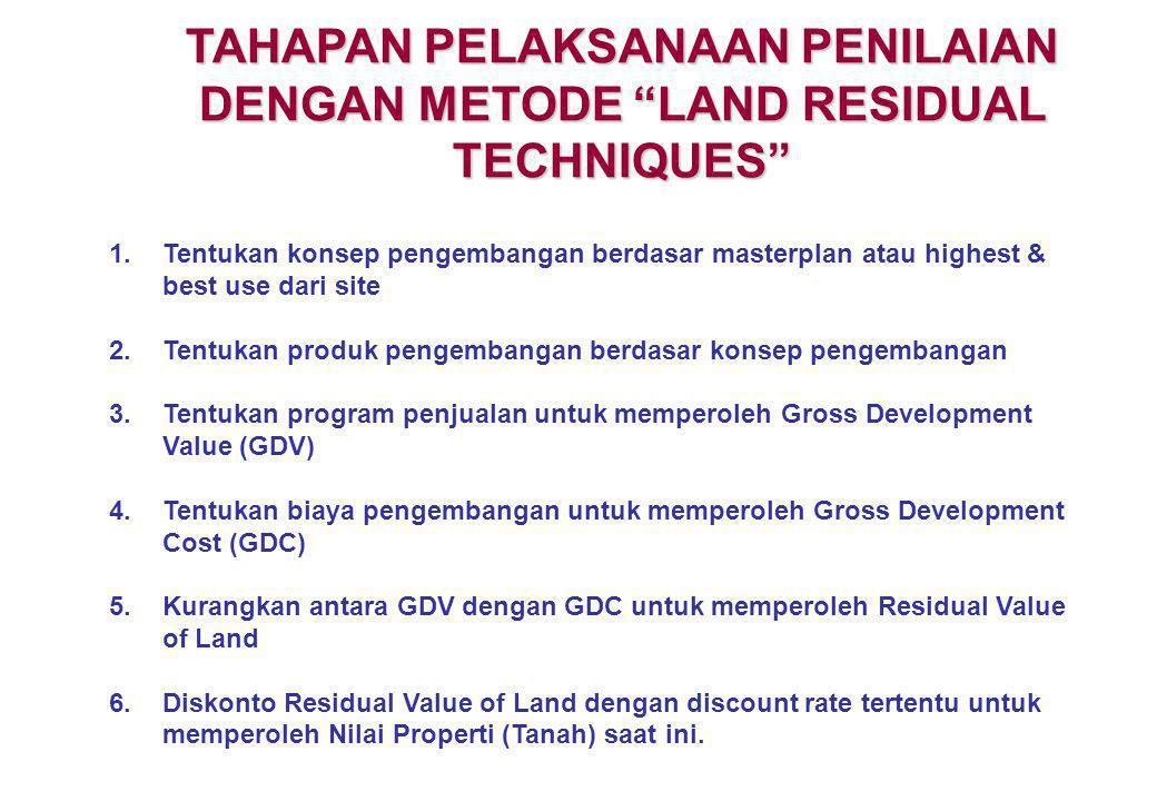 """TAHAPAN PELAKSANAAN PENILAIAN DENGAN METODE """"LAND RESIDUAL TECHNIQUES"""" 1.Tentukan konsep pengembangan berdasar masterplan atau highest & best use dari"""