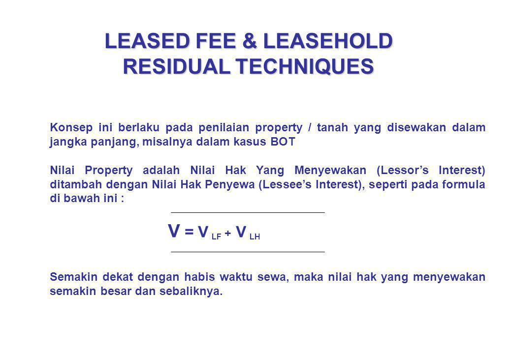 LEASED FEE & LEASEHOLD RESIDUAL TECHNIQUES Konsep ini berlaku pada penilaian property / tanah yang disewakan dalam jangka panjang, misalnya dalam kasu