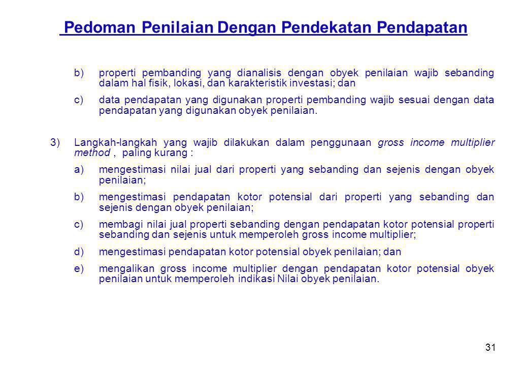 31 b)properti pembanding yang dianalisis dengan obyek penilaian wajib sebanding dalam hal fisik, lokasi, dan karakteristik investasi; dan c)data penda