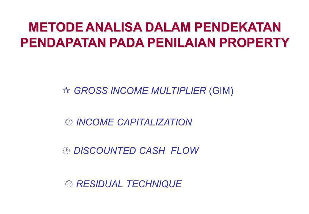 GROSS INCOME MULTIPLIER (GIM) Adalah suatu metode yang sangat sederhana dalam estimasi nilai pasar dengan pendekatan pendapatan.