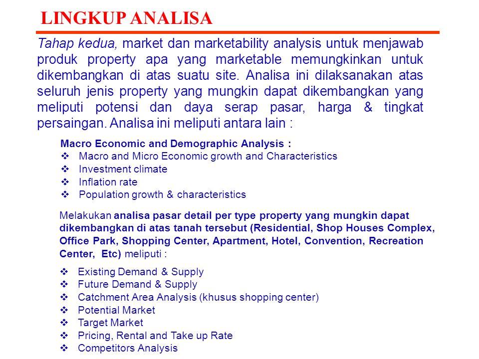 Tahap kedua, market dan marketability analysis untuk menjawab produk property apa yang marketable memungkinkan untuk dikembangkan di atas suatu site.