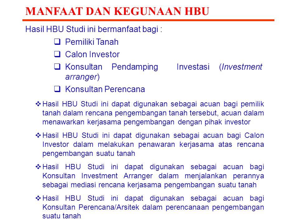 MANFAAT DAN KEGUNAAN HBU Hasil HBU Studi ini bermanfaat bagi :  Pemiliki Tanah  Calon Investor  Konsultan Pendamping Investasi (Investment arranger
