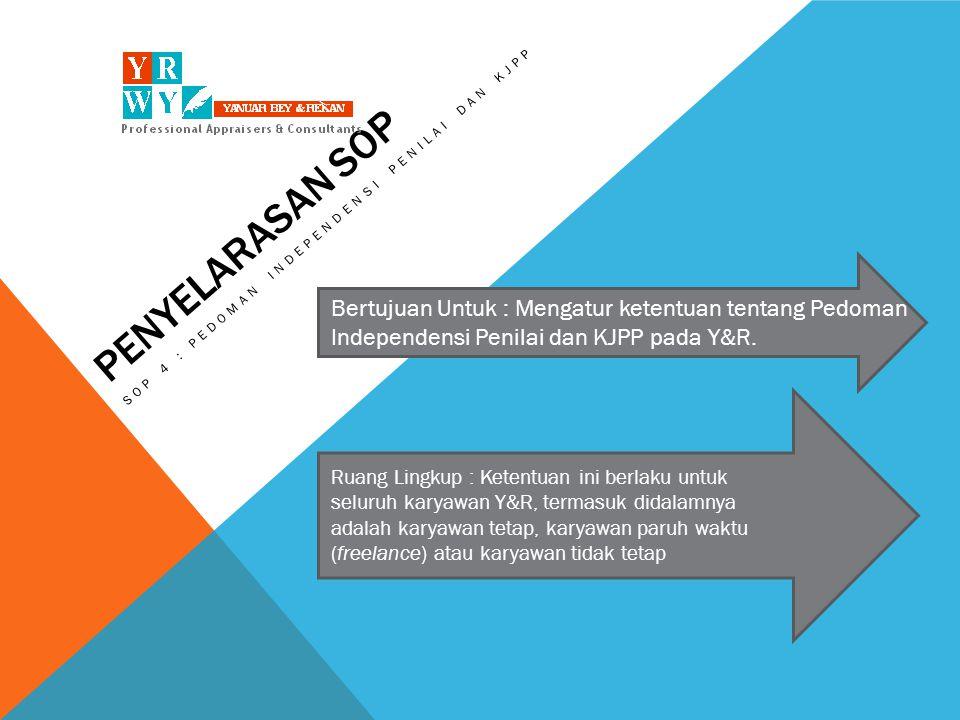 SOP 4 : PEDOMAN INDEPENDENSI PENILAI DAN KJPP, Continued adalah prinsip yang ditetapkan oleh Y&R untuk setiap karyawan agar dalam setiap pekerjaan, sikap serta pengambilan keputusan dilakukan berdasarkan data dan bukan karena kepentingan dari Klien, atau pihak eksternal lainnya Independensi adalah kebijakan yang disepakati oleh profesi penilai di Indonesia tentang etika dalam pekerjaan serta hubungan dengan Klien.