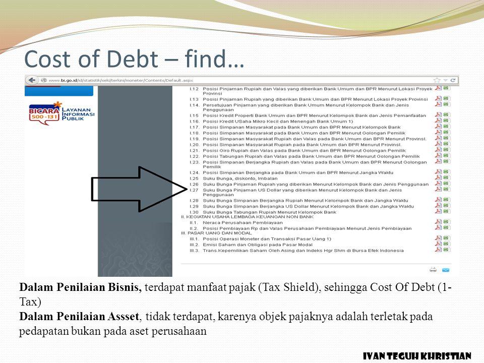 Cost of Debt – find… Dalam Penilaian Bisnis, terdapat manfaat pajak (Tax Shield), sehingga Cost Of Debt (1- Tax) Dalam Penilaian Assset, tidak terdapa