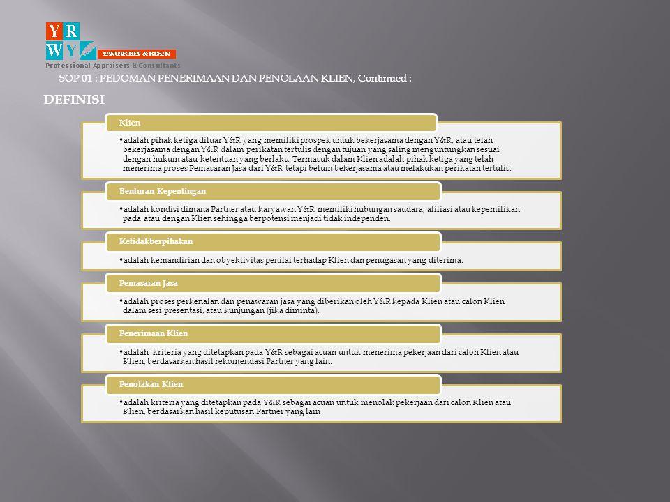 SOP 01 : PEDOMAN PENERIMAAN DAN PENOLAAN KLIEN, Continued : PENGAWASAN Secara mingguan, petugas yang ditunjuk melakukan pemeriksaan terhadap persetujuan pada kertas kerja klien oleh pejabat yang berwenang Secara mingguan, petugas yang ditunjuk melakukan review dan evaluasi terhadap data calon klien atau klien existing.