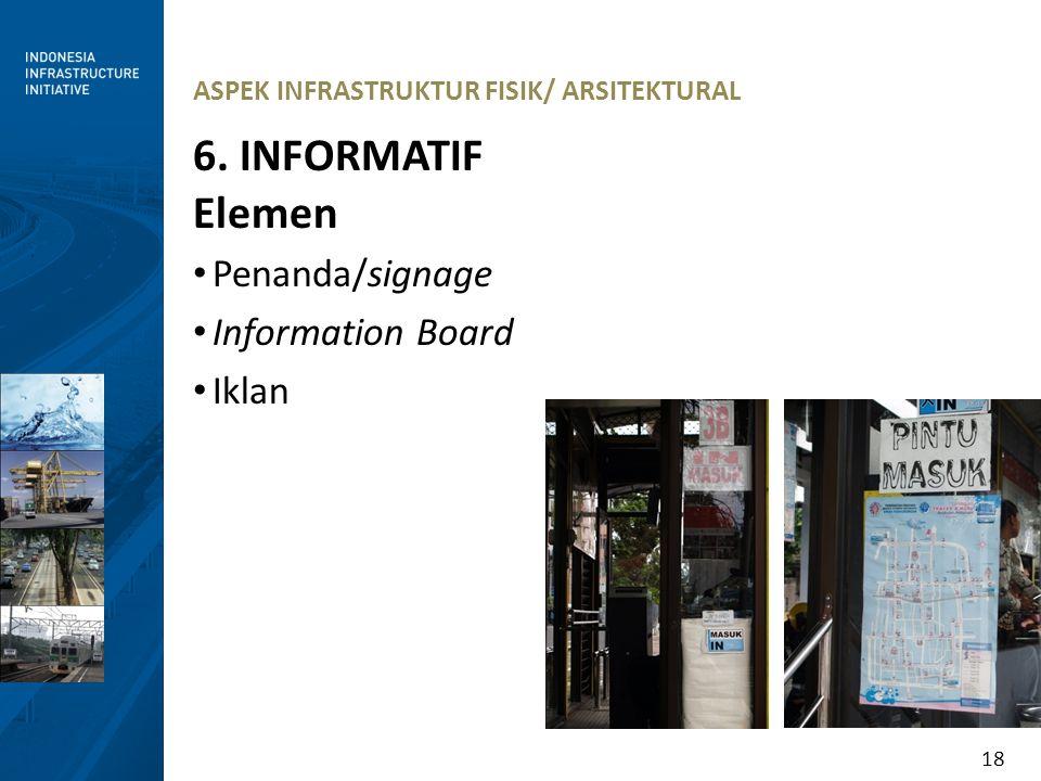 18 ASPEK INFRASTRUKTUR FISIK/ ARSITEKTURAL 6. INFORMATIF Elemen Penanda/signage Information Board Iklan