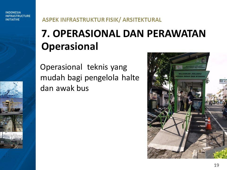 19 ASPEK INFRASTRUKTUR FISIK/ ARSITEKTURAL 7. OPERASIONAL DAN PERAWATAN Operasional Operasional teknis yang mudah bagi pengelola halte dan awak bus