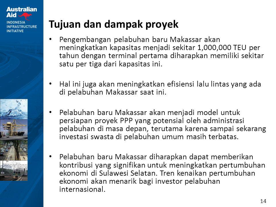 14 Tujuan dan dampak proyek Pengembangan pelabuhan baru Makassar akan meningkatkan kapasitas menjadi sekitar 1,000,000 TEU per tahun dengan terminal p