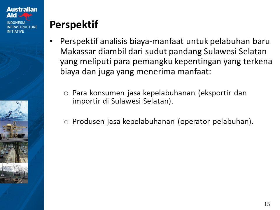 15 Perspektif Perspektif analisis biaya-manfaat untuk pelabuhan baru Makassar diambil dari sudut pandang Sulawesi Selatan yang meliputi para pemangku