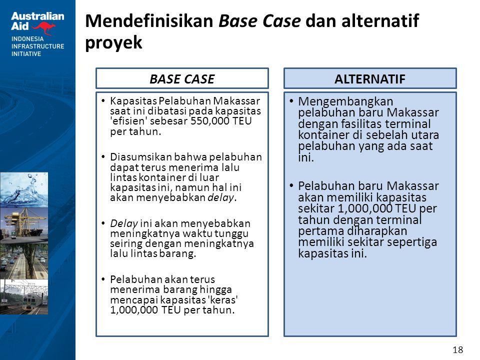 18 Mendefinisikan Base Case dan alternatif proyek Kapasitas Pelabuhan Makassar saat ini dibatasi pada kapasitas 'efisien' sebesar 550,000 TEU per tahu