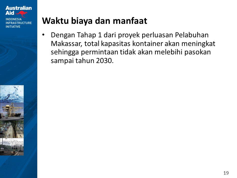 19 Waktu biaya dan manfaat Dengan Tahap 1 dari proyek perluasan Pelabuhan Makassar, total kapasitas kontainer akan meningkat sehingga permintaan tidak