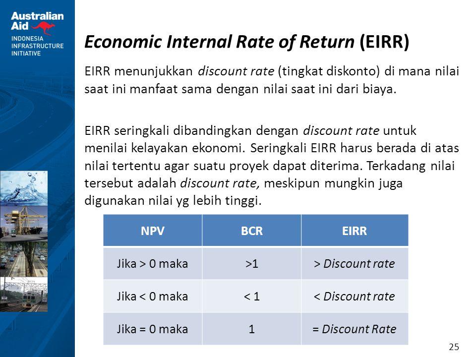 25 Economic Internal Rate of Return (EIRR) EIRR menunjukkan discount rate (tingkat diskonto) di mana nilai saat ini manfaat sama dengan nilai saat ini
